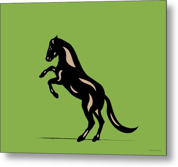 Emma - Pop Art Horse - Black, Hazelnut, Greenery Metal Print