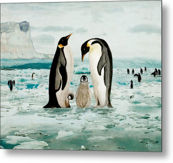 Emperor Penguin Family Metal Print