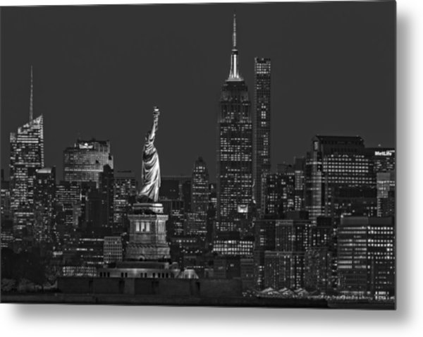 Metal Print featuring the photograph Empire State And Statue Of Liberty II Bw by Susan Candelario