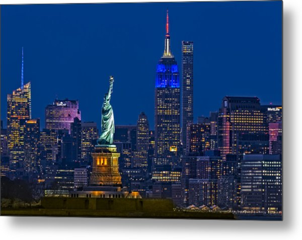 Metal Print featuring the photograph Empire State And Statue Of Liberty II by Susan Candelario