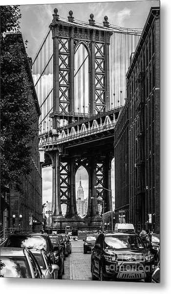 Empire State Building Framed By Manhattan Bridge Metal Print