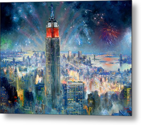 Empire State Building In 4th Of July Metal Print