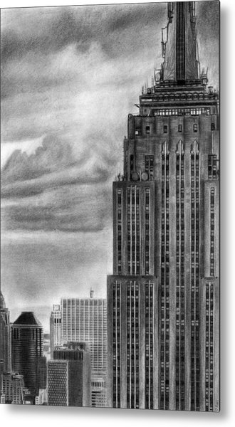 Empire State Building New York Pencil Drawing Metal Print