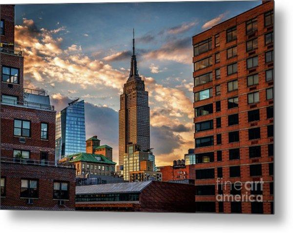 Empire State Building Sunset Rooftop Metal Print