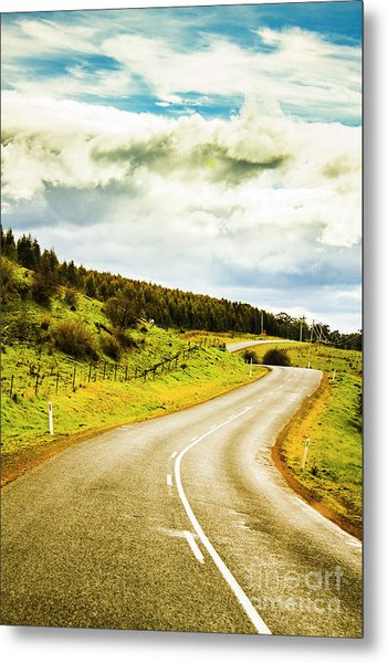 Empty Asphalt Road In Countryside Metal Print