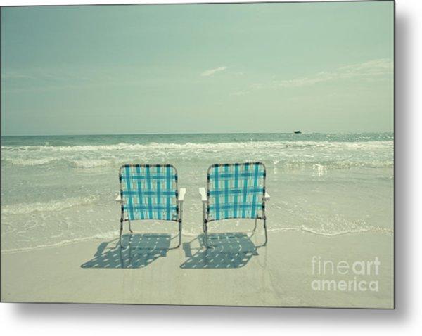 Empty Beach Chairs Metal Print