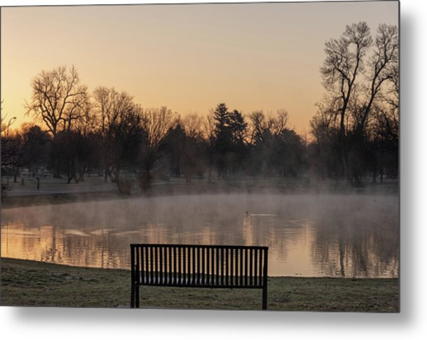 Metal Print featuring the photograph Empty Bench At Misty City Park Lake by Philip Rodgers