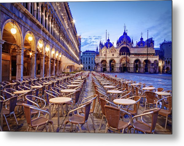 Empty Cafe On Piazza San Marco - Venice Metal Print