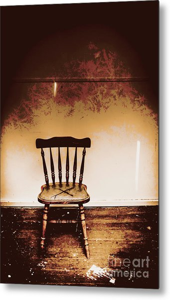Empty Wooden Chair With Cross Sign Metal Print
