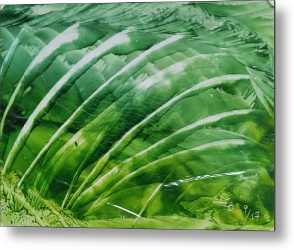 Encaustic Abstract Green Fan Foliage Metal Print