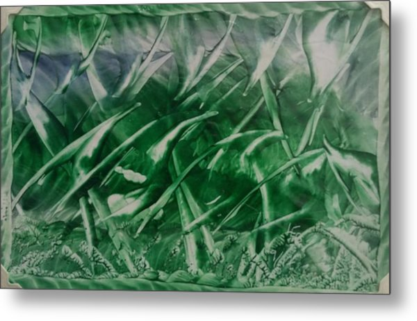 Encaustic Green Foliage With Some Blue Metal Print