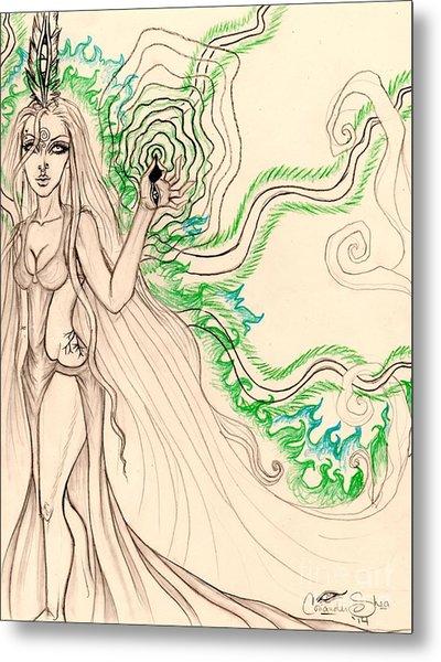 Enchanted By An Emerald Flame Sketch Metal Print by Coriander Shea