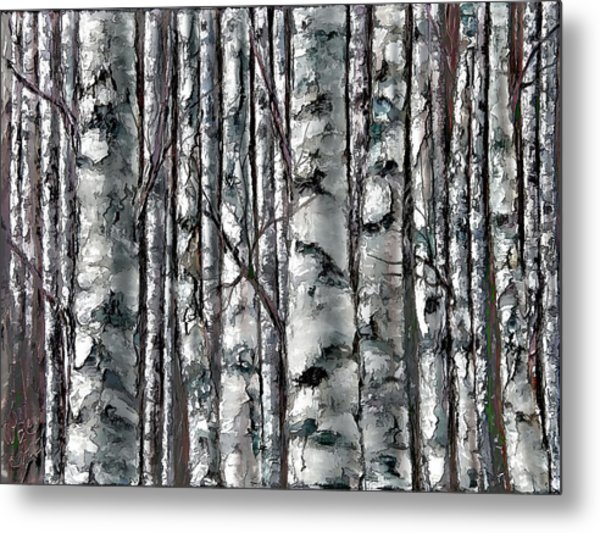 Enchanted Forest -black And White Metal Print