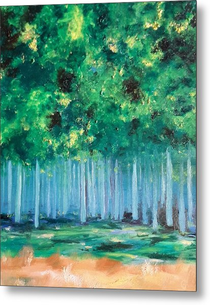 Enchanted Poplars Metal Print