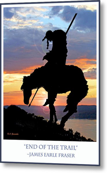 End Of The Trail Sculpture In A Sunset Metal Print