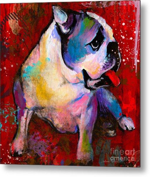 English American Pop Art Bulldog Print Painting Metal Print