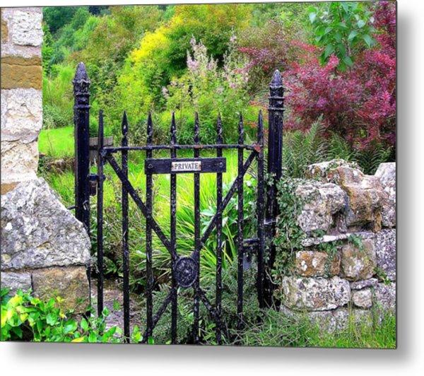 English Garden Gate Metal Print by Jen White
