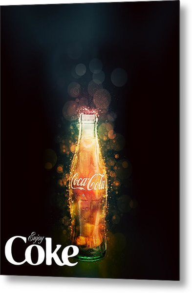 Enjoy Coca-cola With Bubbles Metal Print