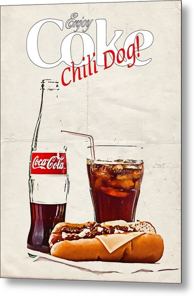 Enjoy Coca-cola With Chili Dog Metal Print