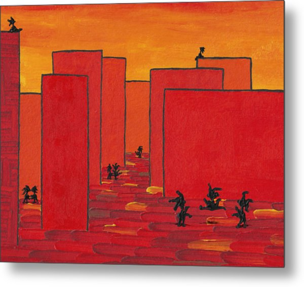 Enjoy Dancing In Red Town P2 Metal Print