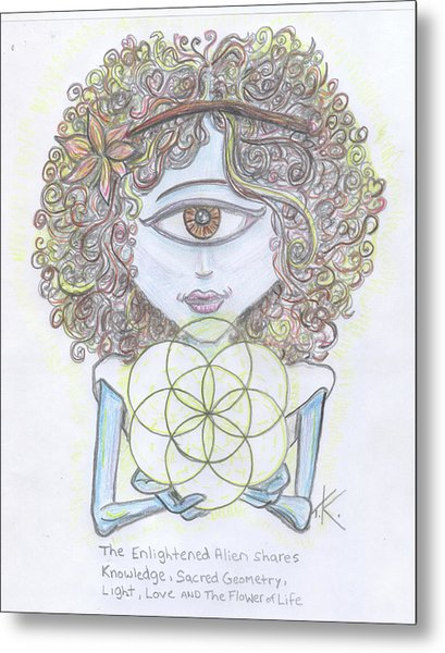 Enlightened Alien Metal Print