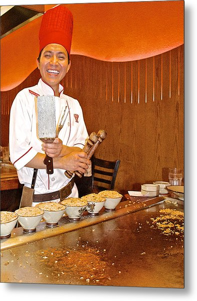 Entertaining Chef At Benihana In Monterey-california Metal Print
