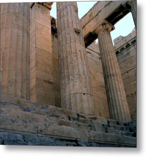 Entrance To Past Life   Acropolis Metal Print by Blima Efraim