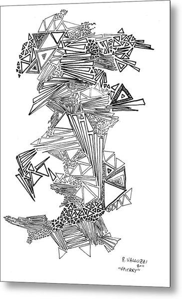 Epitaxy Ink Drawing By Regina Valluzzi Metal Print