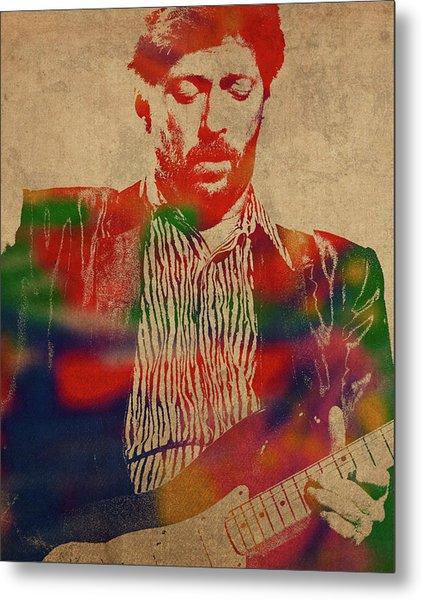 Eric Clapton Watercolor Portrait Metal Print