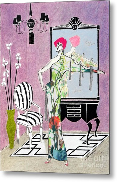 Erte'-esque -- Art Deco Interior W/ Fashion Figure Metal Print