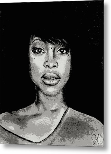 Erykah Baduism - Pencil Drawing From Photograph - Charcoal Pencil Drawing By Ai P. Nilson Metal Print
