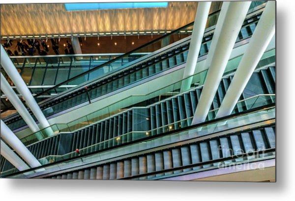 Escalators And Columns In Munich Airport Metal Print