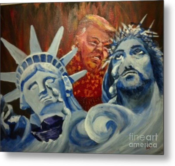 Metal Print featuring the painting Escape On Tears Of Love And Liberty by Saundra Johnson