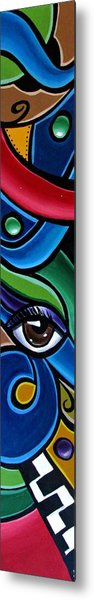 Colorful Abstract Art Painting, Modern Art Brown Eye Art Paintings Metal Print