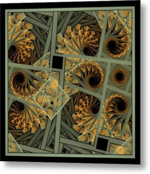 Escher Grey-fern Metal Print