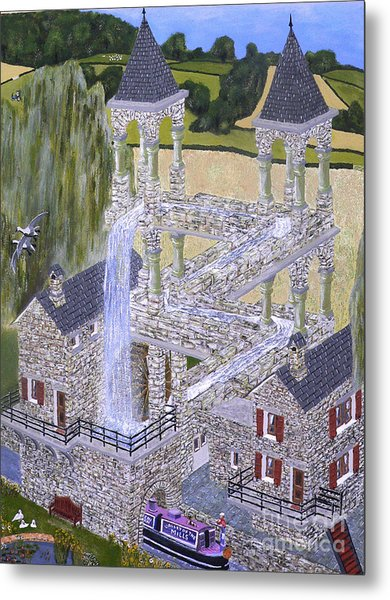 Metal Print featuring the painting Escher's Mill Landscaped And Painted By Eric Kempson by Eric Kempson