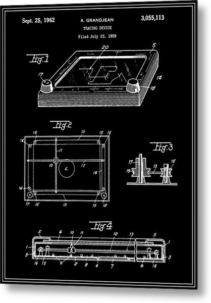 Etch-a-sketch Patent - Black Metal Print