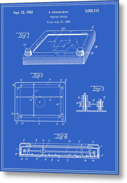 Etch-a-sketch Patent - Blueprint Metal Print