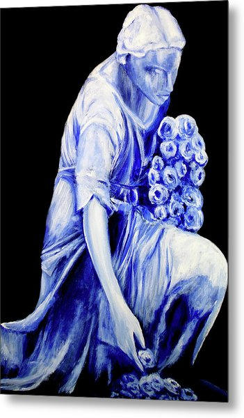 Flower Girl In Blue Metal Print