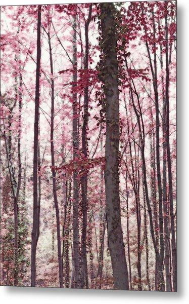 Ethereal Austrian Forest In Marsala Burgundy Wine Metal Print