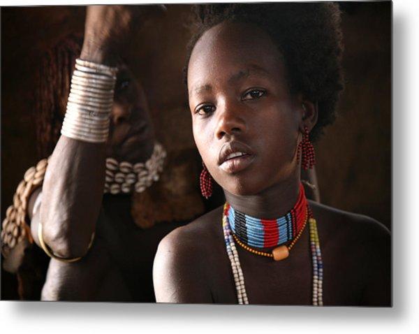 Ethiopian Hamer Girl Metal Print