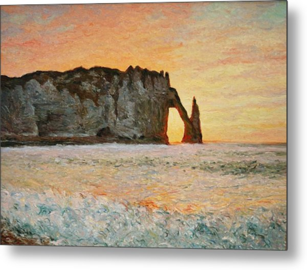 Etretat, Sunset  Metal Print