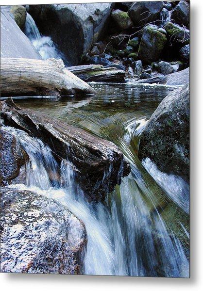 Etruded Log-end In Merced River II Metal Print by D Kadah Tanaka