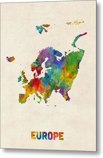 Europe Continent Watercolor Map Metal Print