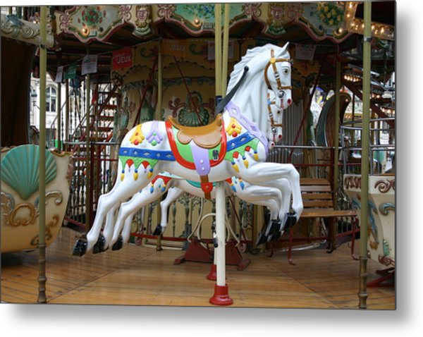 European Merry Go Round Metal Print by Dennis Curry