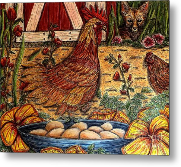 Even Chickens Can Be Heroes Metal Print