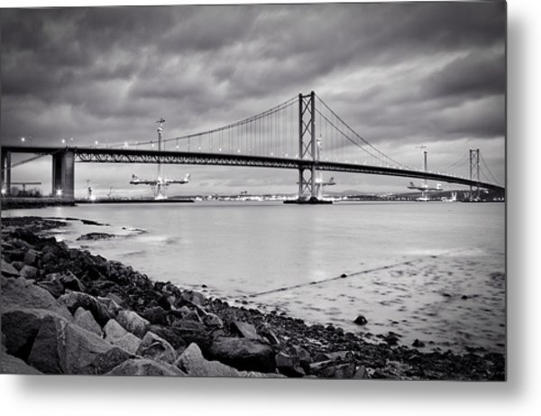 Evening At The Forth Road Bridges Metal Print
