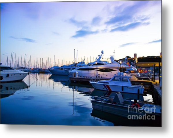 evening at water in Cannes Metal Print