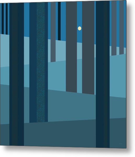 Evening Blues - Abstract Trees Metal Print