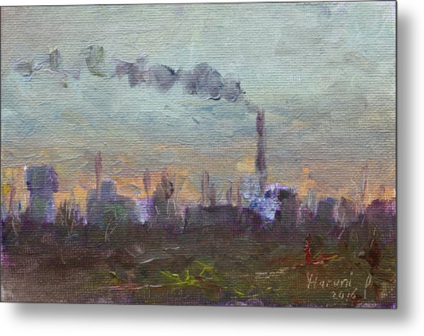 Evening By Industrial Site Metal Print